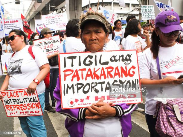 MENDIOLA MANILA PHILIPPINES A protester seen holding a placard during the protest Leftist groups stage Bonifacio Day of protest in Mendiola and at...