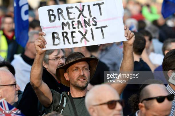 A protester seen holding a placard that says Brexit means Brexit during the Leave means leave rally in London A Leave means leave pro Brexit march...