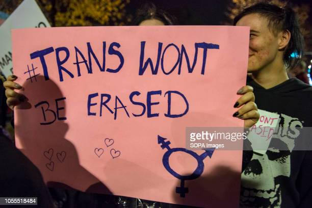 Protester seen holding a placards written on '' trans wont be erased'' during the protest Polish LGBTQ organizations protested under the slogan We...