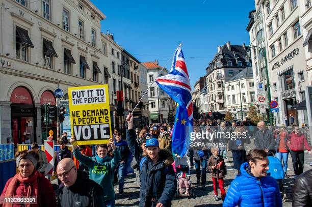 A protester seen holding an anti Brexit placard during the protest A day before the anniversary of the founding Treaty of the European Union citizens...