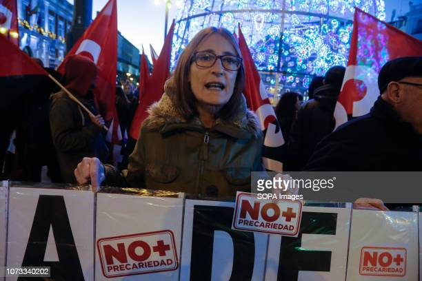 A protester seen shouting slogans during the demonstration against job insecurity and new forms of labor exploitation Workers from various active...