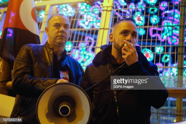 A protester seen speaking on a megaphone during the protest Workers from various active strikes such as Carrefour Inditex Amazon or teleoperators in...