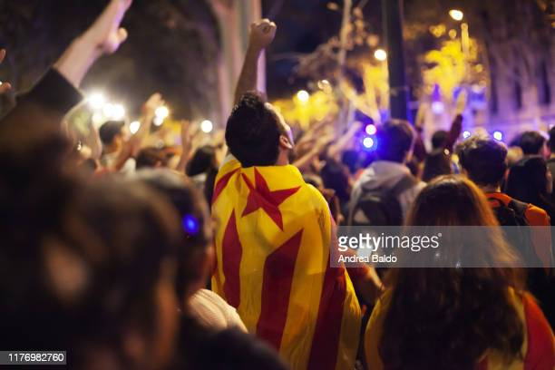 Protester shouting outside the Tribunal Superior de Justicia de Cataluña ., during a pacific demonstration in Barcelona. Radical separatists have...