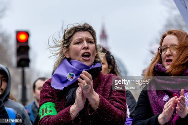 A protester shouts slogans during the Act 17 protest called by the Gilets Jaunes on March 09 2019 in Paris France According to the Ministry of...