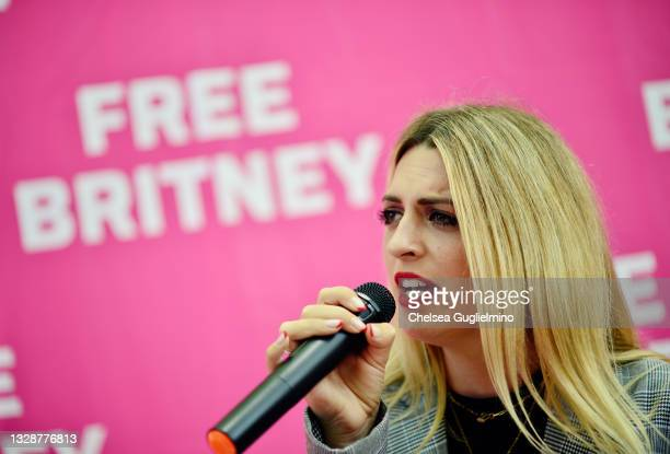 Protester sings a Britney Spears song during a #FreeBritney Rally at Stanley Mosk Courthouse on July 14, 2021 in Los Angeles, California. The group...