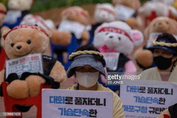 Protester sits in front of teddy bears dressed as protesters in order to comply with COVID-19 coronavirus rules against large public gatherings,...
