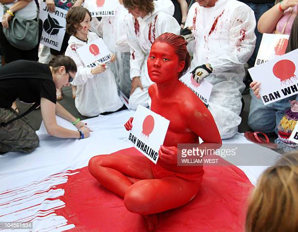 A protester sits on a Japanese flag covered in fake blood as members of Animal Liberation Victoria protest outside Japan's consulate over Japan's...