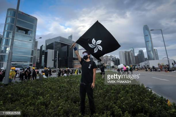 A protester waves a Black Bauhinia flag as others set up barricades at Lung Wo road outside the Legislative Council in Hong Kong before the flag...