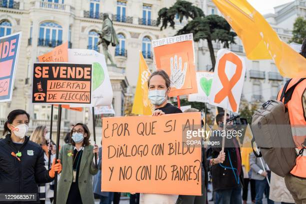Protester wearing a face mask holds a placard during the demonstration. Dozens of people demonstrate in front of the Spanish Congress of Deputies,...