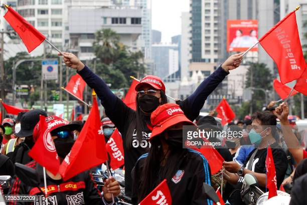 Protester wearing a face mask, waves red flags during a car mob demonstration. More than 1,000 cars and motorcycles set off from Asoke intersection...