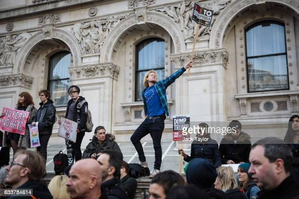 Protester wearing an EU t-shirt holds up a placard during demonstration against U.S. President Donald Trump on Whitehall on February 4, 2017 in...
