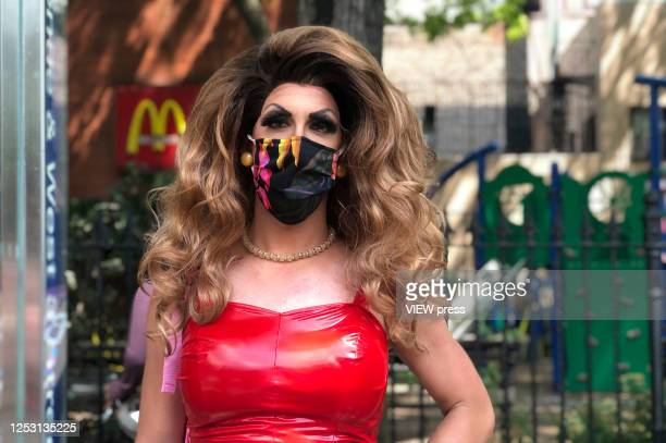 Protester wears a face mask during the Queer March for Black Lives on June 28, 2020 in New York City. The LGBTQ+ community celebrates the 51st...