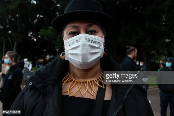 A protester wears a face mask with the words 'I can't breathe' written on it during a 'Black Lives Matter' rally in Hyde Park on June 02 2020 in...