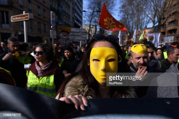 A protester wears a Yellow mask Act XIII dubbed 'Civil disobediencequot' of the Yellow Vest movement begun peacefully but the protest turned to riot...