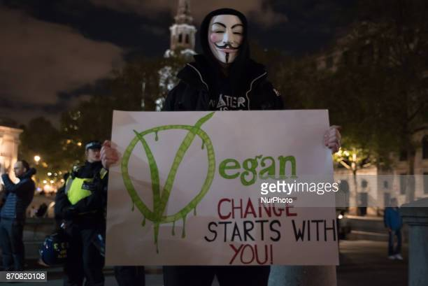 A protester wears the iconic Guy Fawkes mask and holds a placard in Trafalgar Square during the anticapitalist 'Million Masks March' organised by the...