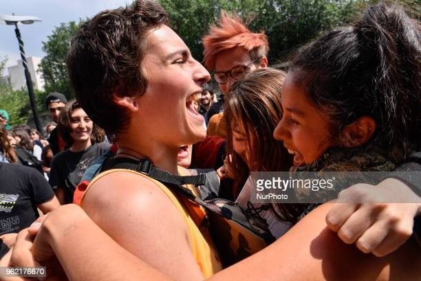 A protester who was arrested by police during the Arago highschool blocade get out of the Courthouse and is welcomed by his friends in paris on the...