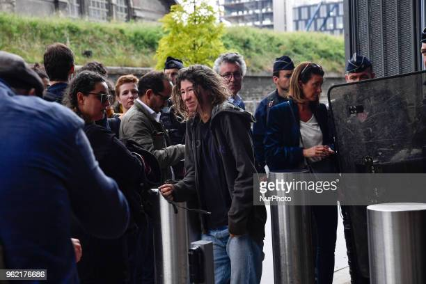 A protester who was arrested by police during the Arago highschool blocade get out of the Courthouse in paris on the 24 may 2018
