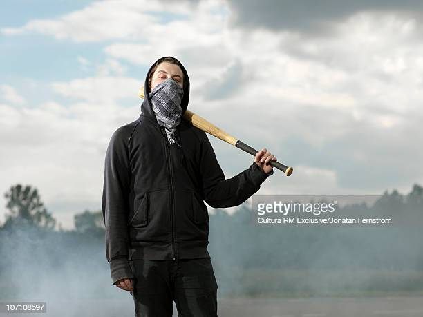 Protester with baseball bat