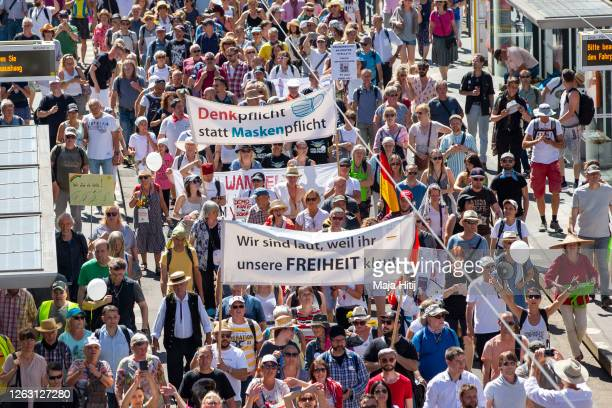 "Protesters against coronavirus restrictions demonstrate on August 01, 2020 in Berlin, Germany. The protest march has been named ""The end of the..."