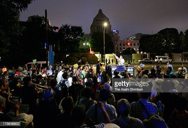 Protesters against nuclear power gather in front of the Diet building on August 2 2013 in Tokyo Japan The 65th rally the last before Hiroshima and...