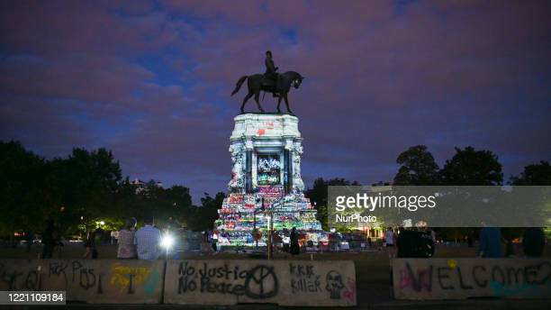 Protesters against police violence and racism continue to rally at the Richmond, VA monument to Confederate General Robert E. Lee on June 18, 2020....