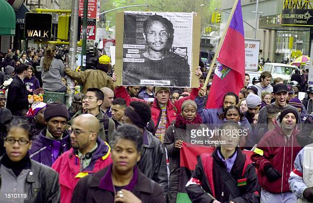 Protesters against police violence make their way down Broadway in New York City April 5 2000 The protest consisting of a coalition of local student...