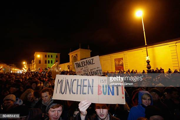 Protesters against the rightwing populist group Pegida demonstrate on January 11 2016 in Munich Germany Pegida and other rightwing activists have...