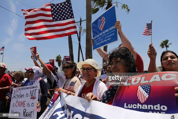 Protesters against the Trump administration's border policies attend a rally at the US Customs and Border Protection Detention Center on June 23 2018...