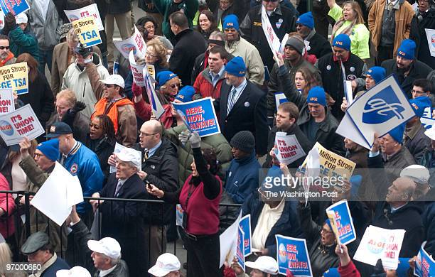 Protesters and American Federation of Government Employees rally for bargaining rights