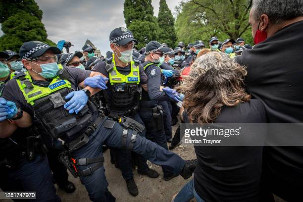 Protesters and members of Victoria Police clash on October 23 2020 in Melbourne Australia Protesters are calling on the end to lockdown restrictions...