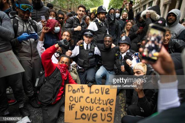 Protesters and police come together during a Black Lives Matter protest on June 03 2020 in London England The death of an AfricanAmerican man George...