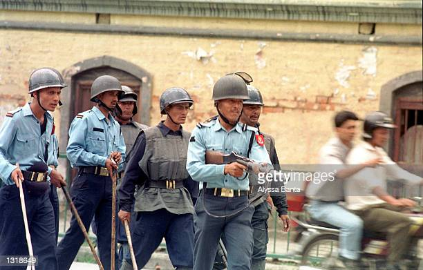 Protesters and police face off after the announcement of the death of King Dipendra and the coronation of his uncle King Gyanendra June 4 2001 in...
