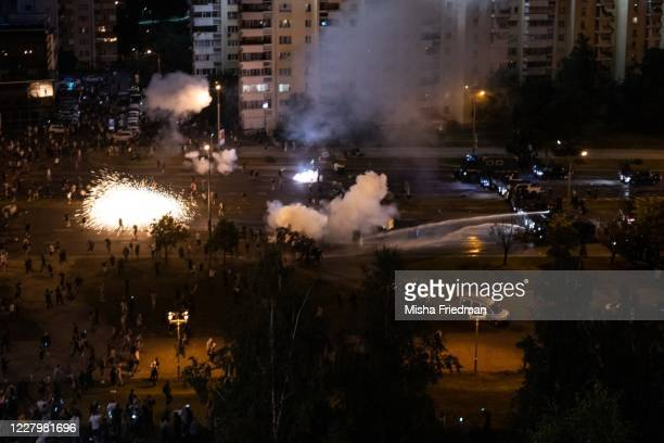 Protesters and riot police clash during a protest against Belarus President Alexander Lukashenko's claim of a landslide victory on August 9, 2020 in...