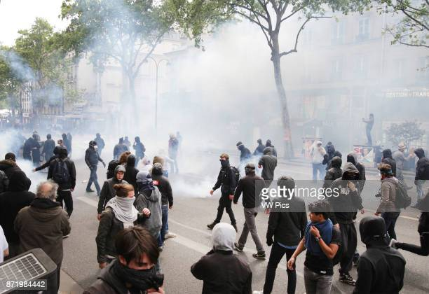 Protesters antiFrench presidential election candidate for the En Marche movement Emmanuel Macron and French presidential election candidate for the...