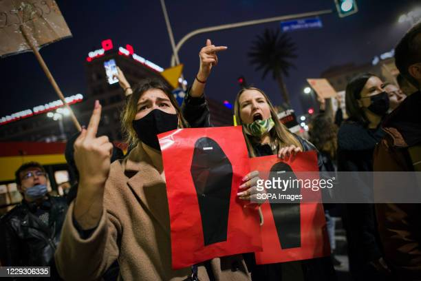 Protesters are display placards and chant anti government slogans during the protest. Thousands of people took to the streets of Poland for a fifth...
