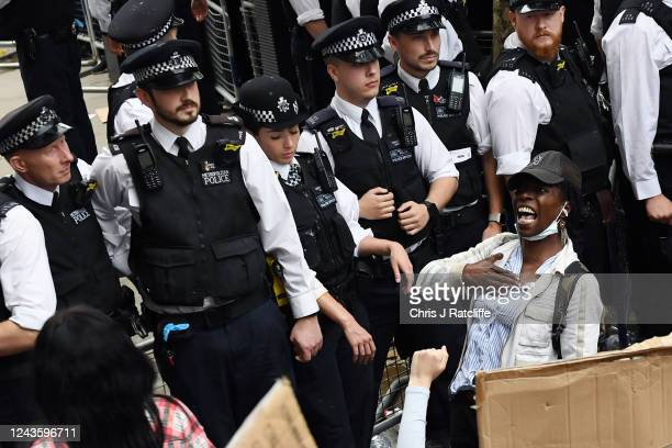 Protesters are held back by police outside Downing Street during a Black Lives Matter demonstration on June 3, 2020 in London, United Kingdom. The...