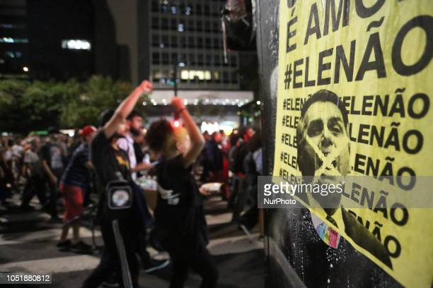 """Protesters are protesting, titled """"Dictatorship never again, without fear of fascism"""", and against the presidential candidate of Brazil,..."""