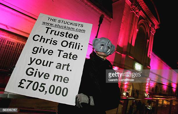 Protesters are seen at the Turner Prize 2005 at Tate Britain on December 5 2005 in London England David Lammy hosts this years prestigious arts prize...