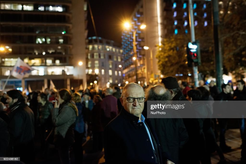 Protesters are seen during a demonstration against online auctions of foreclosed properties in Athens, Greece on February 21, 2018. A rally against online auctions of foreclosed properties was held in central Athens by labor unions affiliated to the Greek Communist Party (KKE).