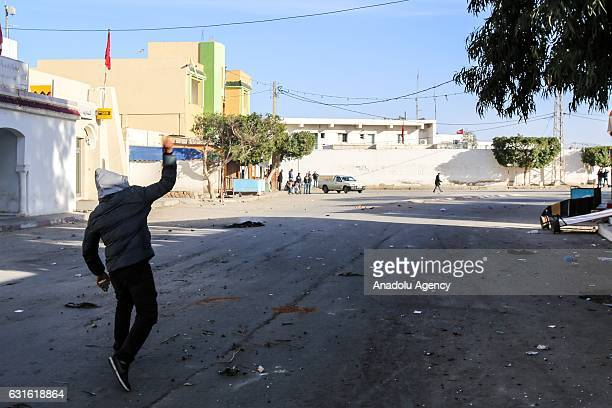 Protesters are seen during a demonstration demanding giving social rights to citizens and resolution of the crisis at Ras Jadir border crossing...