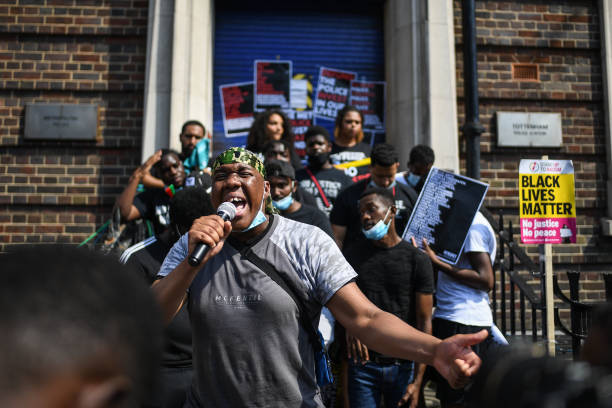 GBR: Black Lives Matter Protest Marks Anniversary Of London Riots