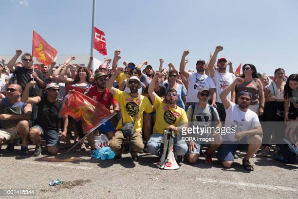Protesters are seen posing for the camera while celebrating their strike A three day strike by the works council during the Prime Day demanding the...