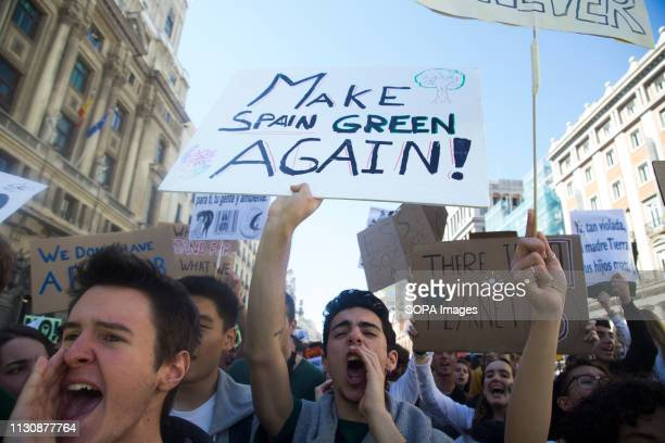 Protesters are seen shouting slogans during the demonstration Hundreds of Spanish students in Madrid join the global movement Friday for Future to...