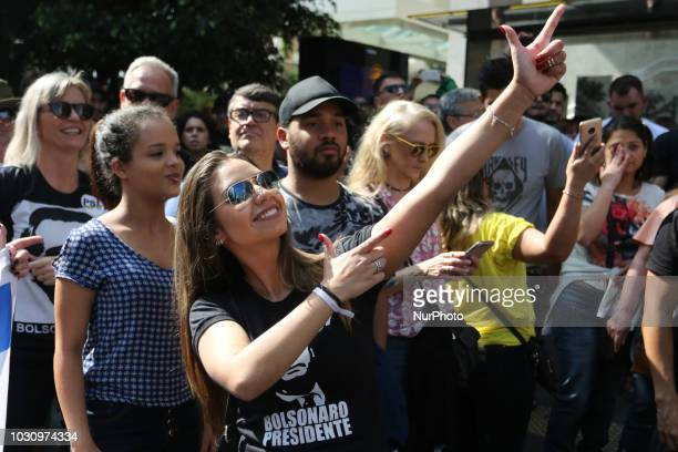Protesters are taking a stand in support of Brazil's presidential candidate Jair Bolsonaro on Sao Paulo's central Paulista avenue on Sunday The...
