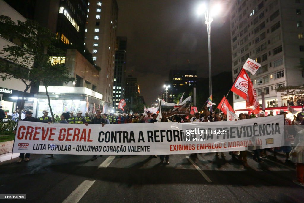 Protest Against Social Security Reform In São Paulo : News Photo