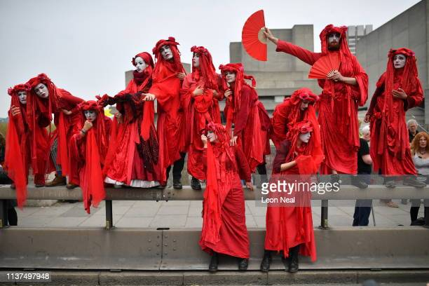 Protesters at a blockade on Waterloo Bridge during the second day of a coordinated protest by the Extinction Rebellion group on April 16 2019 in...