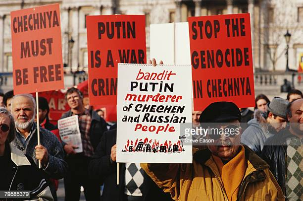 Protesters at a demonstration against Russian President Vladimir Putin's treatment of Chenyans London 5th February 2000