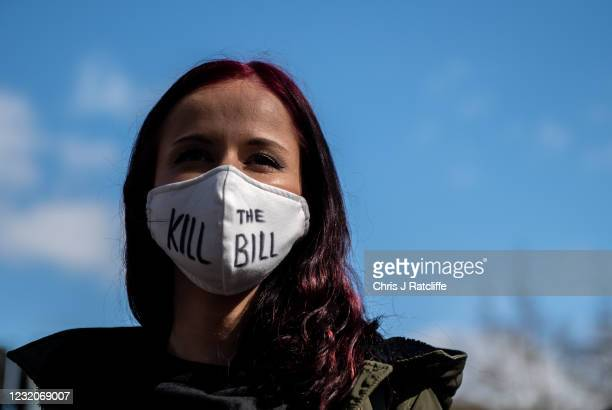 Protesters at a Kill the Bill protest in Finsbury Park on April 2, 2021 in London, England. Protests around the United Kingdom have been held in...