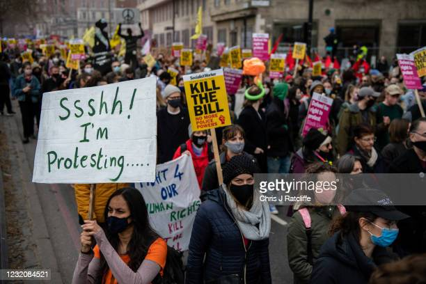 Protesters at a Kill the Bill protest on April 3, 2021 in London, England. Protests around the United Kingdom have been held in opposition to the...