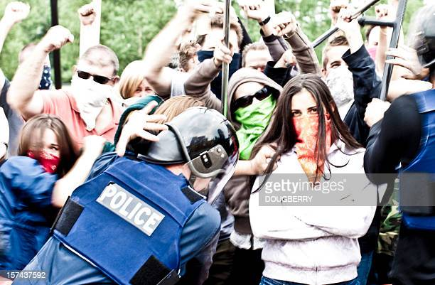 Protesters at a police line